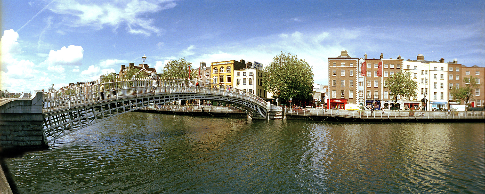 A landscape view of the Ha'penny Bridge